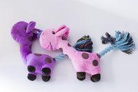 Plysch giraff rep och pipljud mix av lila & rosa i 10-pack