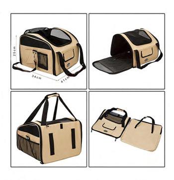 Transportväska till bil, 41 × 34 × 25 cm, beige/svart